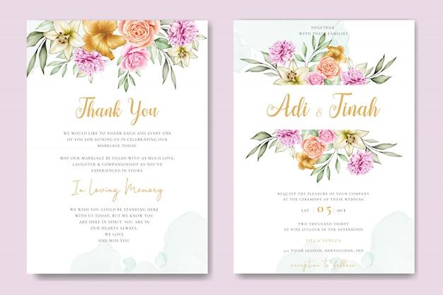 Akwarela ślub karty zestaw szablon z pięknym kwiatowy i liści