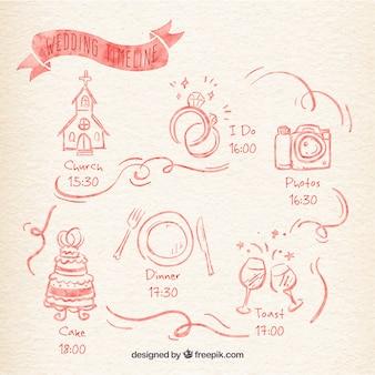 Akwarela ślub osi czasu