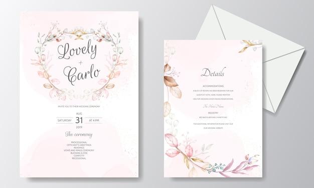 Akwarela ślub zaproszenia szablonu karty z kwiatem i liśćmi