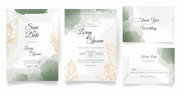 Akwarela ślub zaproszenia szablonu karty ze złotą dekoracją kwiatową