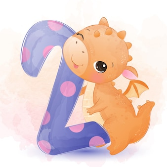 Akwarela smoka słodkie dziecko