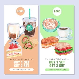 Akwarela śniadanie cafe promo szablon transparent
