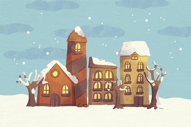 Akwarela śnieżna ilustracja miasta bożego narodzenia w nocy