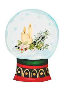 Akwarela śnieżna kula z boże narodzeniem i elementami nowego roku