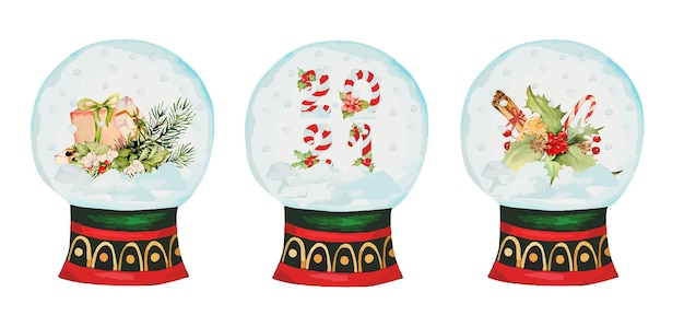 Akwarela śnieżna kula z świątecznymi i noworocznymi elementami