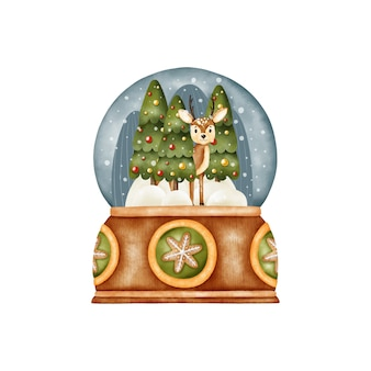 Akwarela śnieżna kula ziemska