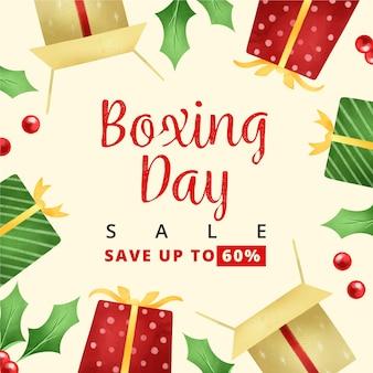 Akwarela sprzedaż drugiego dnia świąt bożego narodzenia