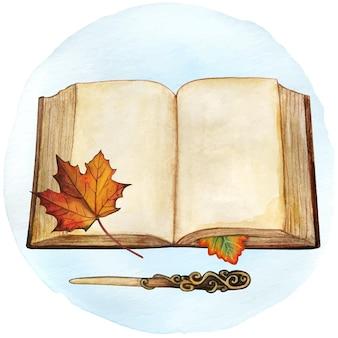 Akwarela starożytna księga z jesiennymi liśćmi i magiczną różdżką