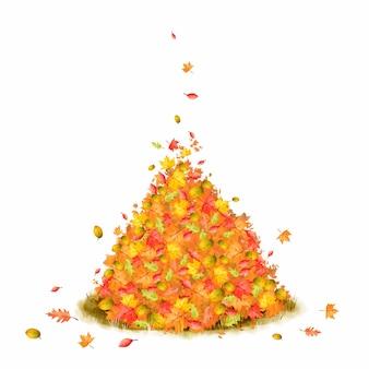 Akwarela stos jesiennych liści