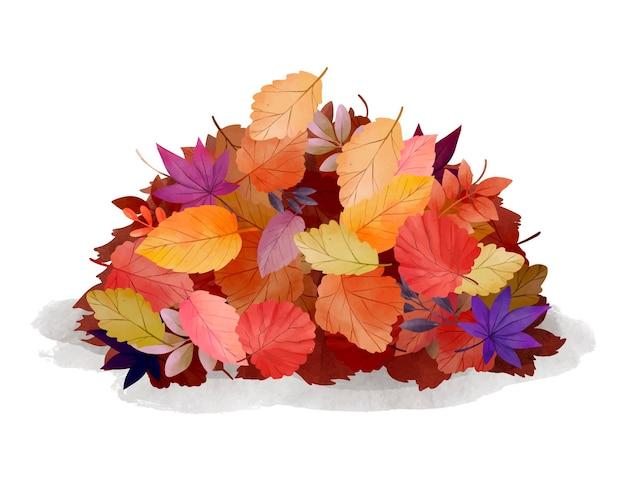Akwarela stos liści