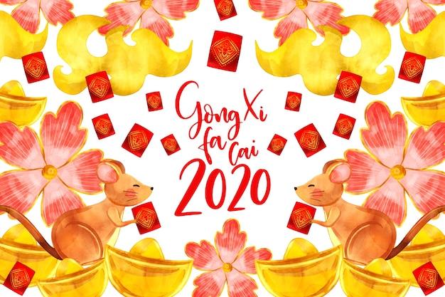 Akwarela styl chiński nowy rok z kwiatami