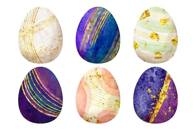 Akwarela styl wielkanocny pakiet jajek