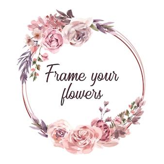 Akwarela suszone wieniec kwiatowy ramki