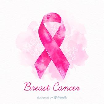 Akwarela świadomości raka piersi wstążką