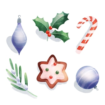 Akwarela świąteczna kolekcja elementów