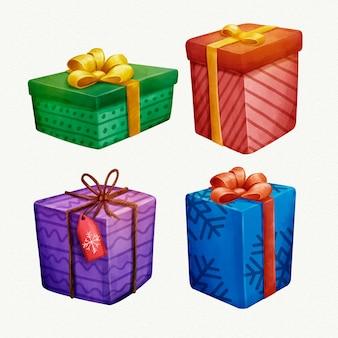 Akwarela świąteczna kolekcja prezentów