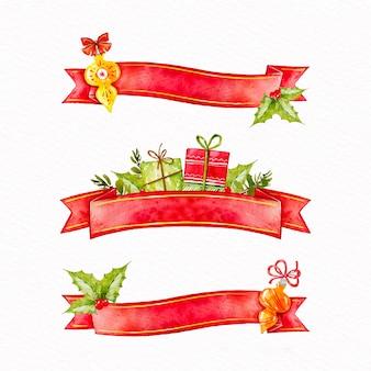 Akwarela świąteczna kolekcja wstążek