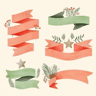 Akwarela świąteczna kolekcja wstążki
