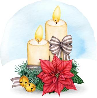 Akwarela świąteczna kompozycja świec z poinsecją
