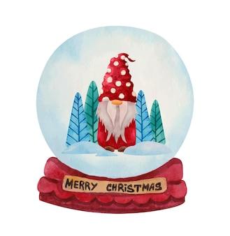 Akwarela świąteczna kula śnieżna z nordyckim gnomem w czerwonym suknie