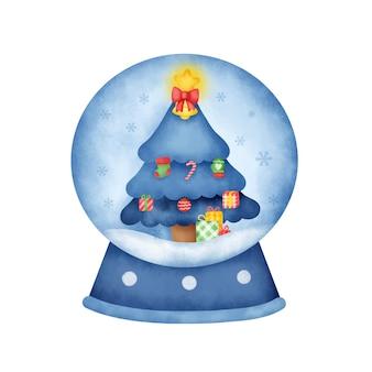 Akwarela świąteczna kula śnieżna z uroczą choinką.