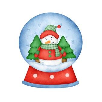 Akwarela świąteczna kula śnieżna z uroczym bałwankiem.