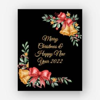 Akwarela świąteczna kwiecista rama z liśćmi, jagodami i bożonarodzeniową kulą świetlną