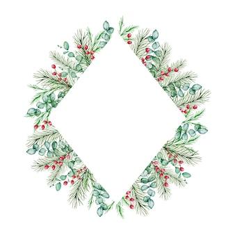 Akwarela świąteczna ramka romb z zimowymi gałęziami świerku i sosny, jagody eukaliptusa