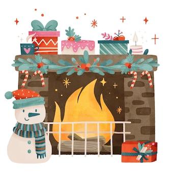 Akwarela świąteczna scena kominkowa