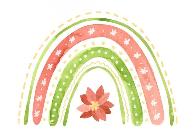 Akwarela świąteczna tęcza z kwiatami poinsecji płatkami śniegu i gwiazdami świąteczne zima clipart