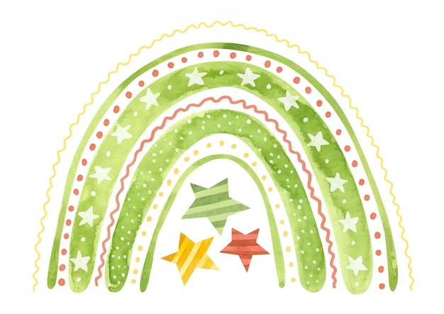 Akwarela świąteczna tęcza z płatkami śniegu i gwiazdami świąteczna zima clipart