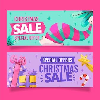 Akwarela świąteczne banery sprzedaż