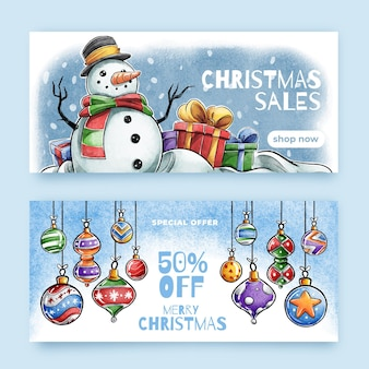 Akwarela świąteczne banery sprzedaży