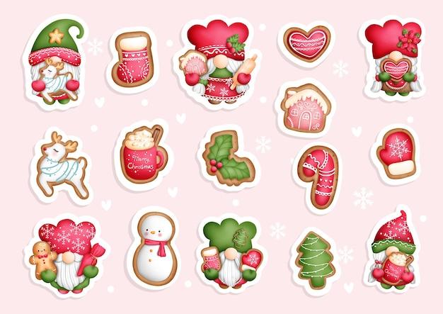 Akwarela świąteczne ciasteczka gnome, naklejka gnomów, terminarz i notatnik.