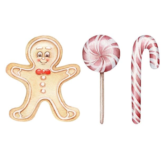 Akwarela świąteczne cukierki