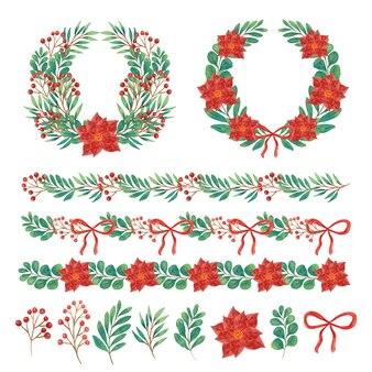 Akwarela świąteczne dekoracje
