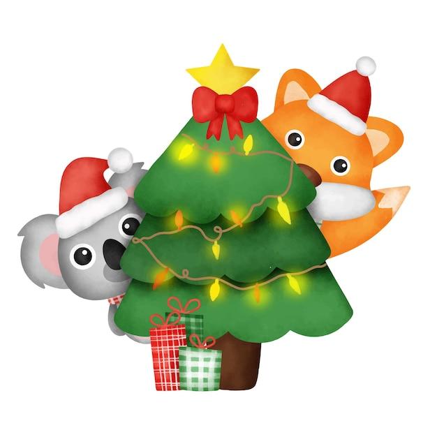 Akwarela świąteczne przyjęcie z uroczym lisem i koalą