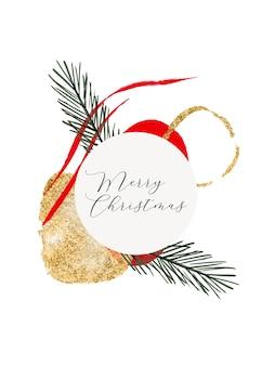 Akwarela świąteczne tło z liśćmi abstrakcyjne kształty organiczne złoty element gałęzi drzewa jodły