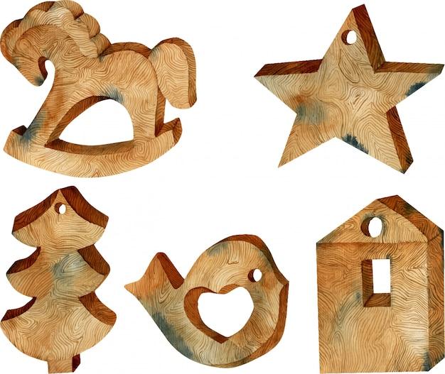 Akwarela świąteczne zabawki drewniane w stylu skandynawskim