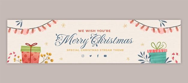 Akwarela świąteczny baner twitch
