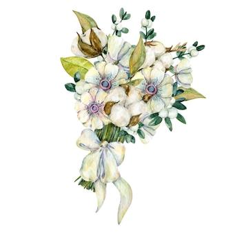 Akwarela świąteczny bukiet wykonany z zimowych kwiatów anemonu bawełnianych gałęzi liści jemioły