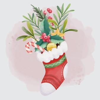 Akwarela świąteczny bukiet z ilustracją skarpety