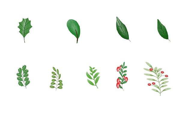 Akwarela świąteczny i nowy rok element wieniec pozostawia dzwonowe pudełko na prezent choinkowy kwiat
