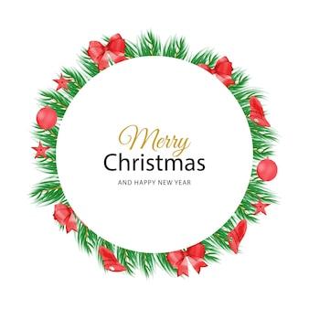 Akwarela świąteczny kwiatowy baner ręcznie malowane kwiatowy tło z jagodami i gałęzią jodły