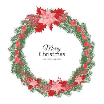 Akwarela świąteczny kwiatowy sztandar ręcznie malowane kwiatowy tło z jagodami i gałęzią jodły