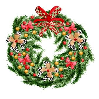 Akwarela świąteczny wieniec iglasty z wystrojem