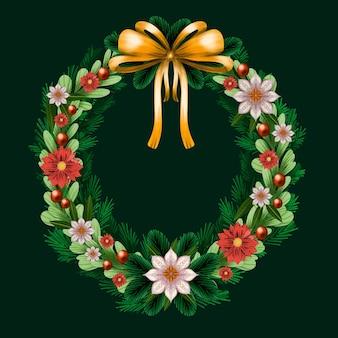 Akwarela świąteczny wieniec ze złotą kokardą