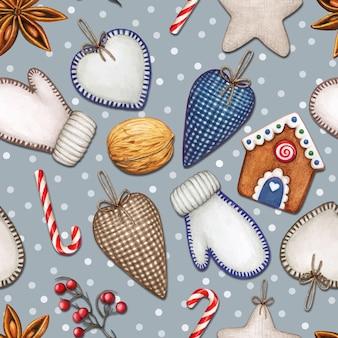 Akwarela świąteczny wzór z sercami, rękawiczkami i smakołykami