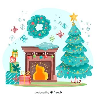 Akwarela świątecznych dekoracji w pomieszczeniu