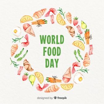 Akwarela światowy dzień jedzenia z pierścieniem alimenty